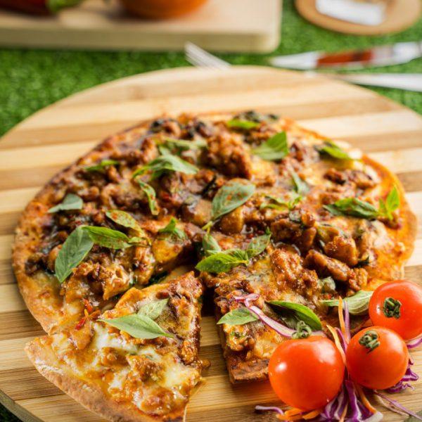 Pad Kra Pao Naan Pizza